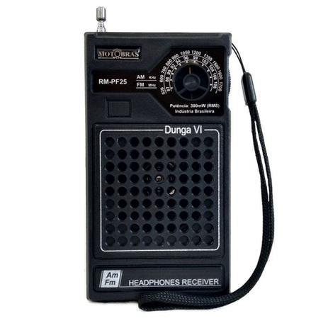 Imagem de Rádio Portátil 2 Faixas AM-FM Preto RM-PF25 - Motobras