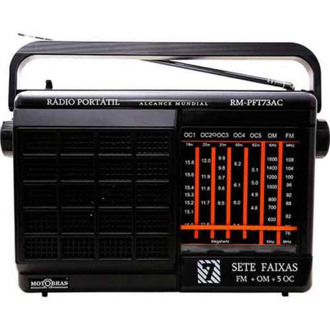 Imagem de Rádio Portátil 7 Faixas Motobrás -- Pilha e Luz -- RM-PFT73AC