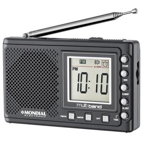 Imagem de Rádio Portátil Mondial Multi Band II, Rádio AM/FM/SW, Display digital, Funções relógio e alarme
