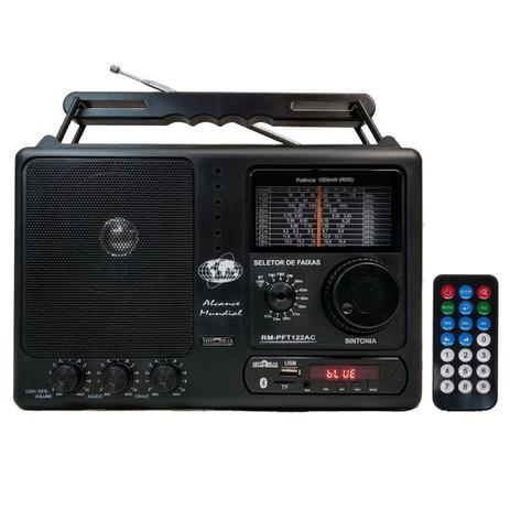 Imagem de Rádio Portátil Motobras RM-PFT122AC 12 Faixas Bluetooth USB FM/OM Controle Remoto Preto - Bivolt