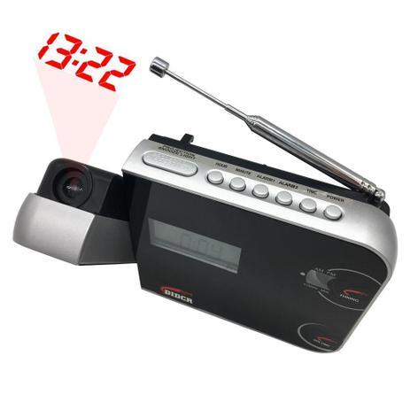 Imagem de Rádio Relógio Despertador Digital AM/FM c/ Projetor de Horas Preto CR-308