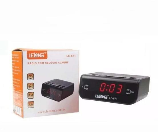 Imagem de Rádio Relógio Despertador Digital De Mesa Lelong Le-671 Am Fm Preto