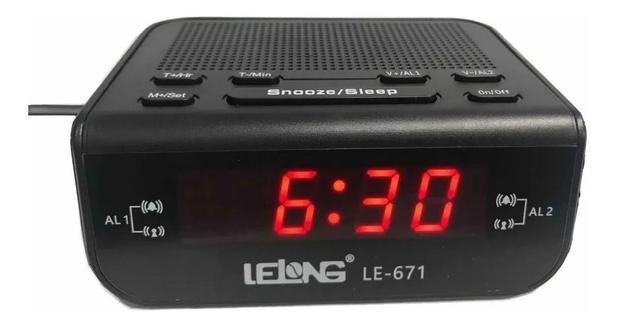 Imagem de Rádio Relógio Digital Despertador Alarme Duplo Lelong Le-671