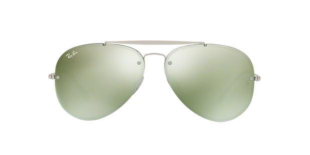 5e7bcf94e Ray-Ban Aviador Blaze RB3584N 905130 Prata Lente Verde Escuro Espelhado Tam  61