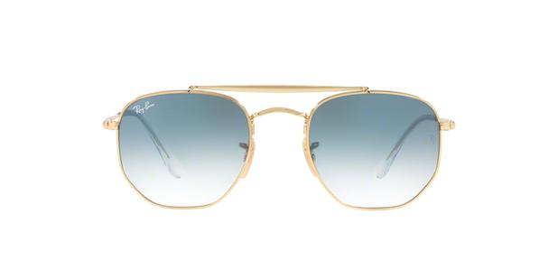 4b3520a082 Ray-Ban Hexagonal RB3648 001/3F Ouro Lente Azul Degradê Tam 54 ...
