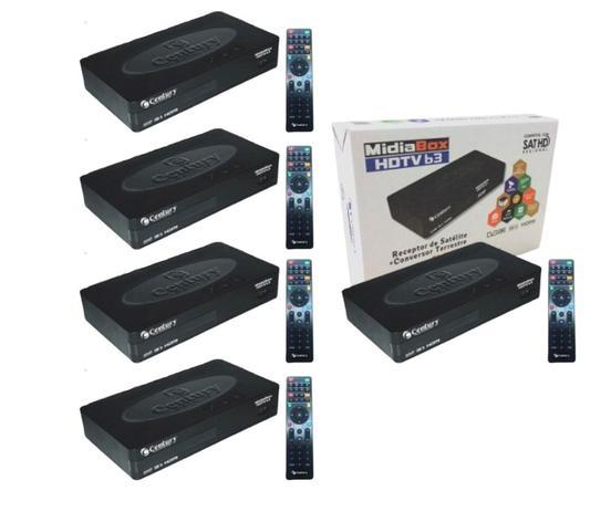 Imagem de Receptor Midiabox HDTV B3 com Conversor Digital Interno -  KIT COM 5 PEÇAS - Midia box