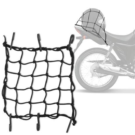 Imagem de Rede Elástica Aranha Piraval Motocicleta Capacete Bagageiro 35 x 35 cm Preto