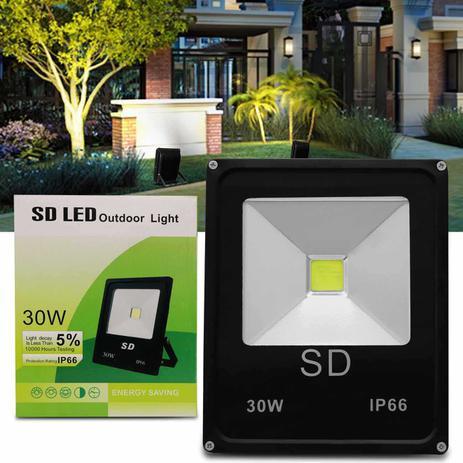 Imagem de Refletor Sd Led Holofote Slim 30W Bivolt IP66 6000K Branco Frio Resistente Água Jardim Fachada Casa