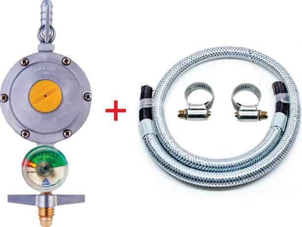 Imagem de Registro Regulador Gás Fogão Visor Indicador 2kgh aliança Mangueira Metal 1mt