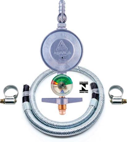Imagem de Registro Regulador Gás Fogão Visor Indicador Mangueira Metalica 1mt