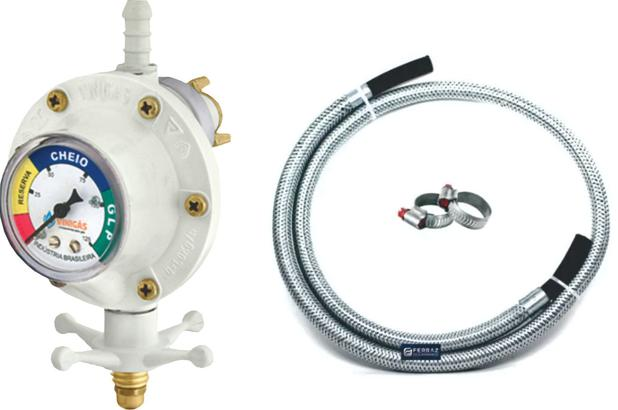Imagem de regulador com indicador click visor branco mangueira metálica flexível 1metro