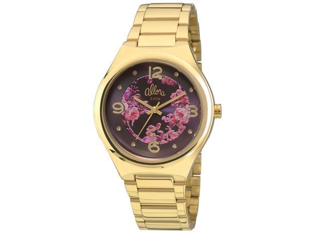 Imagem de Relógio allora feminino dourado mostrador floral ref. al2035faf/4g