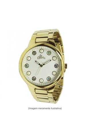 Imagem de Relógio allora feminino dourado mostrador perolado strass e perola  al2035lo/4b