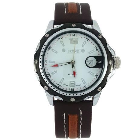 5193d58083a Relógio Analógico Skone 9117B Marrom e branco - Relógio Masculino ...
