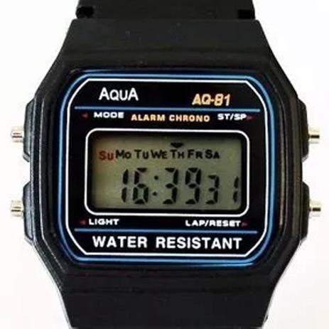 f9c72336be9 Relogio Aqua Aq-91 Retrô Vintage Aprova Dagua Preto - Relógios e ...