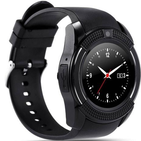 01053089394 Relógio Bluetooth Smartwatch Gear Chip V8 Iphone E Android Preto - Odc