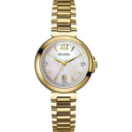 5db8cbe42fa Relógio Bulova Diamond Analógico Feminino Madrepérola WB27930H ...