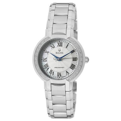 30b3b31a042 Relógio Bulova Feminino Ref  Wb27618q Precisionist Prateado Diamante ...