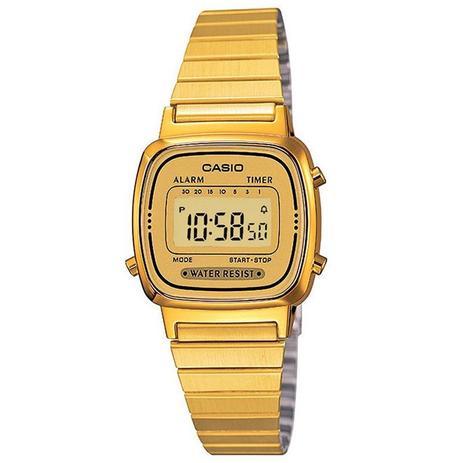 bf7453fa3b3 Relógio Casio Vintage Digital Feminino LA670WGA-9DF - Relógio ...