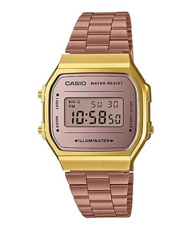 2009d9a3062 Relógio Casio Vintage Espelhado Bicolor Rose Dourado Unissex A168WECM-5DF