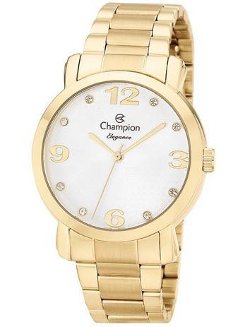 b41aad9092a Relógio Champion Elegance Feminino Dourado Strass CN26279H - Relógio ...