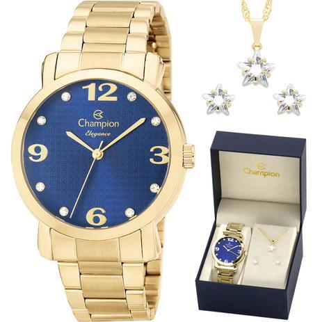 2a483764103 Relógio Champion Feminino CN26279Y + Kit de Brincos e Colar ...