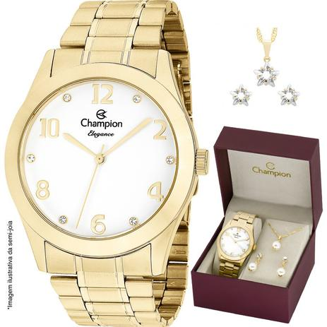 60f2ea8093c Relógio Champion Feminino CN26911W + Colar e Brincos - Relógio ...