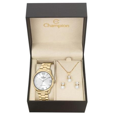abea54570 Relógio Champion Feminino CN29892Z + Kit de Brincos e Colar ...