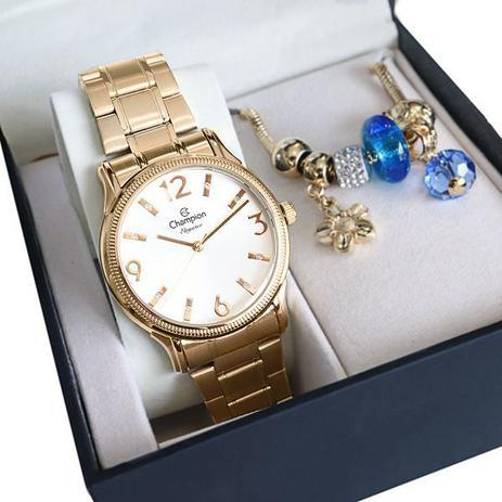 Imagem de Relógio Champion Feminino Dourado Analógico Prova Dagua + Pulseira Berloques Garantia de um ano
