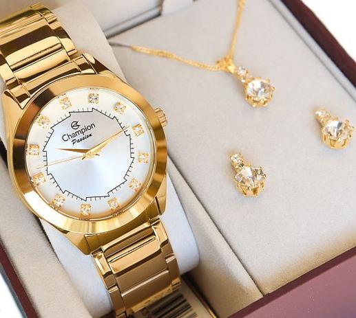 Imagem de Relógio Champion Feminino Dourado CH24759W + Colar e Brincos Prova D Água Garantia de Um Ano
