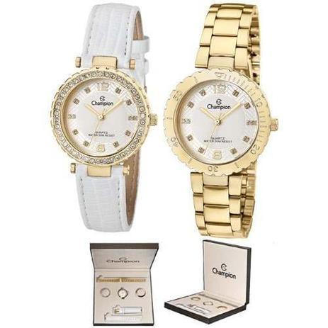2c08c053bcf Relogio Champion Feminino Fashion Dourado Kit Cn29203h - Relógio ...