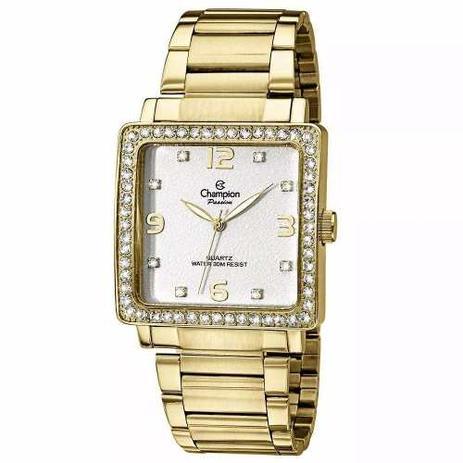 370c50cbe60 Relógio Champion Feminino Quadrado Dourado Ch25696h - Relógio ...