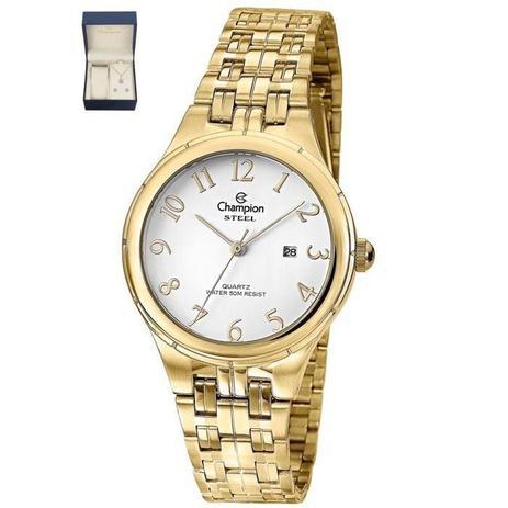 bc6605af694 Relógio Champion Feminino Ref  Cs28389w Dourado + Semijóia - Relógio ...