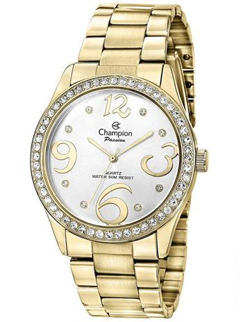 c3f4496bef7 Relogio Champion Passion Feminino Dourado Strass CH24464H - Relógio ...