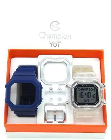 74e7ea97a Relógio Champion Yot Unissex Troca Pulseira Azul Transparente Prata  Cp40180x-82207