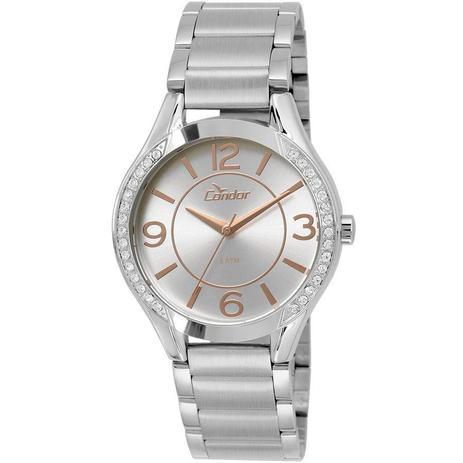 56a84de8b0c Relógio Condor Feminino Ref  Co2035krf k3k Kit Gargantilha e Brincos ...