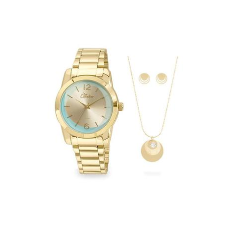43c9156e1d4 Relógio Condor Feminino Ref  Co2035kuc k4v Dourado + Semijoia ...