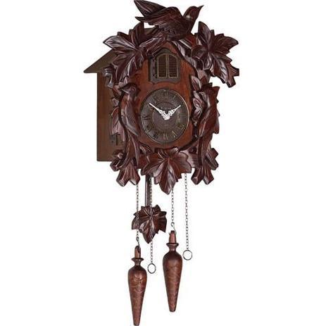 a74732226b7 Relogio cuco musical em madeira retro com pendulo e sensor noturo vintage  herweg