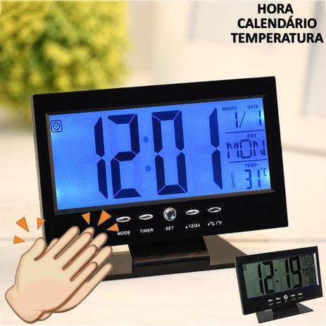3af838b6715 Relógio de mesa digital lcd led acionamento sonoro despertador termometro  PRETO CBRN01422 - Commerce brasil