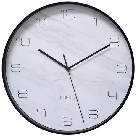 10ca2874602 Relógio de Parede 30cm Plástico Preto Marble Urban - Decoração ...