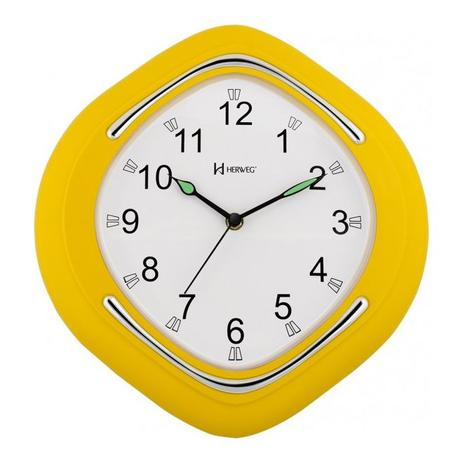 c6266ff9955 Relógio de parede analógico decorativo design moderno herweg amarelo ...