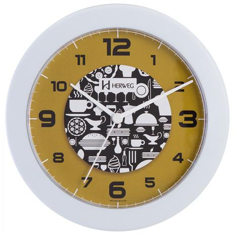 fab60000814 Relógio de parede analógico decorativo ideal para cozinha herweg branco