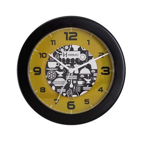 d90ede24309 Relógio de parede analógico decorativo ideal para cozinha herweg preto
