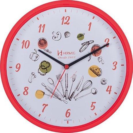 0b6eaf1362f Relógio de parede analógico decorativo ideal para cozinha herweg vermelho