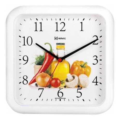 9cf2eadd17e Relógio de parede analógico decoratvio legumes ideal para cozinha herweg  branco