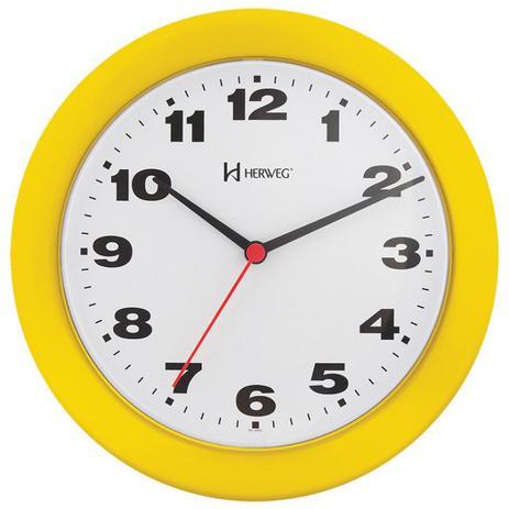 f1e4a078baf Relógio de parede analógico moderno mecanismo step tic tac herweg amarelo