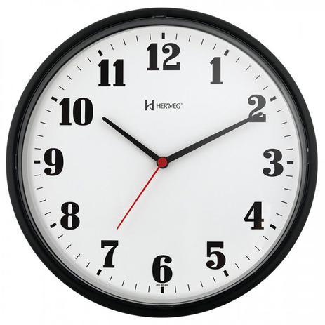 Imagem de Relógio de parede analógico moderno plástico mecanismo step herweg preto