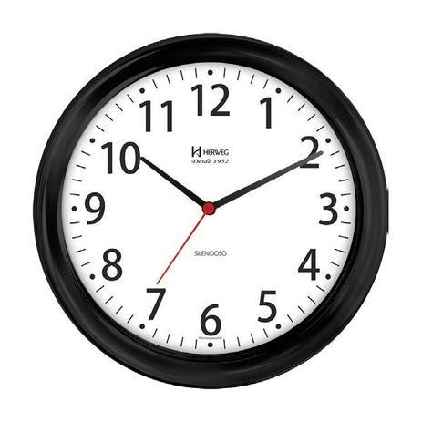 Imagem de Relógio de parede analógico moderno silencioso mecanismo sweep herweg preto
