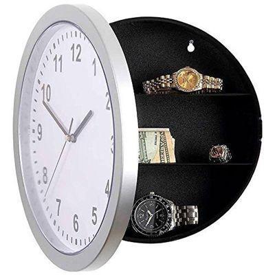Imagem de Relógio de parede cofre secreto camuflado com prateleiras guarda jóias dinheiro bens