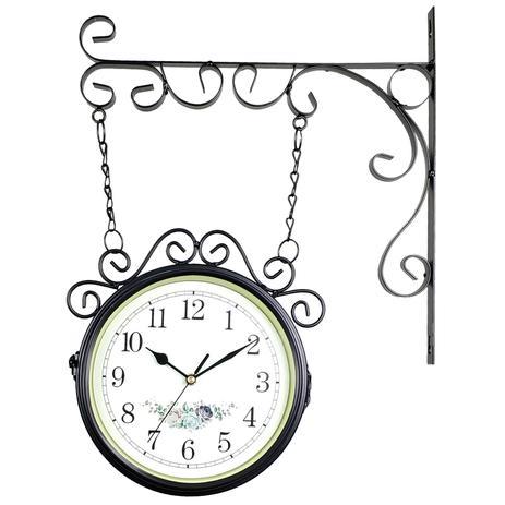 359adbeab28 Relógio de Parede com Suporte Preto para Decoração - Estilo Estação  Ferroviária Retrô Vintage Flores - R3p import